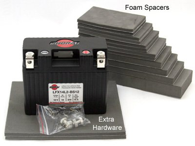 Foam spacers and hardware for batteries