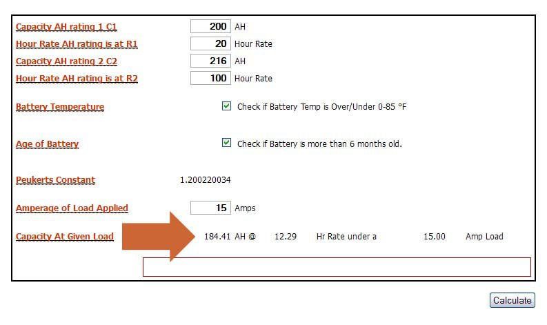 Example Capacity At Given Load The Nineth Field Tells You Exactly What Adjusted Of This Battery Is Your Specific
