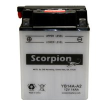 YB14A-A2 Scorpion 12v 190 CCA Power Sport Wet Battery with Acid Pack