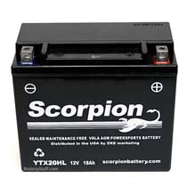 YTX20HL-BS Scorpion 12v 300 CCA Sealed AGM Motorcycle Battery