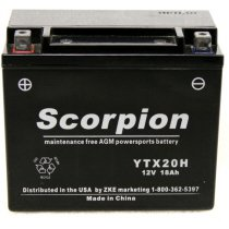 YTX20H-BS Scorpion 12v 285 CCA AGM Power Sport & Motorcycle Battery