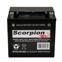 YTX14-BS Scorpion 12v 200 CCA Sealed AGM Motorcycle Battery