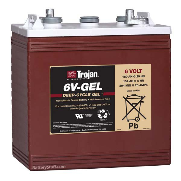 6 v 189 ah gel trojan battery. Black Bedroom Furniture Sets. Home Design Ideas